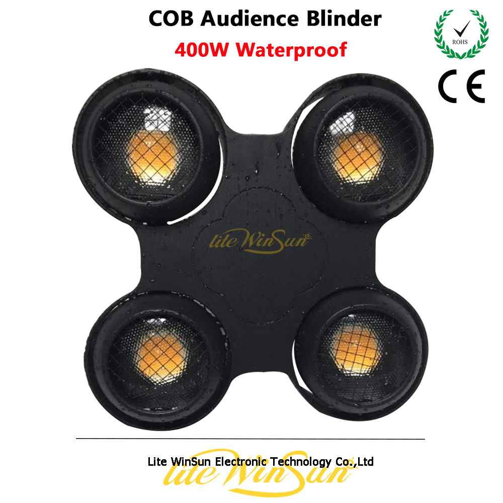 Litewinsune 2018 New Waterproof 400W LED COB X Blinder Audience Light 3200K Warm White blinder m45 x treme