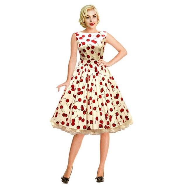 Vintage fashion slit neckline red cherry expansion bottom slim one-piece dress red belt