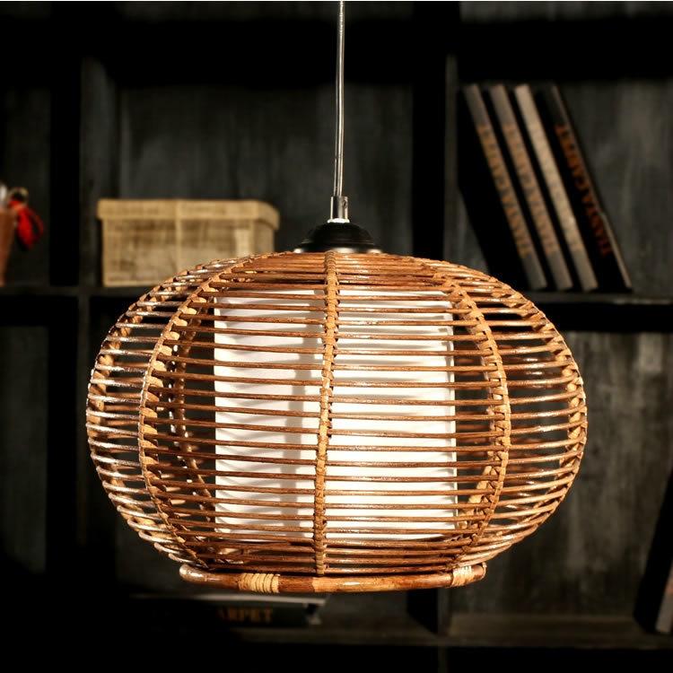 Handmade Bamboo Basket Restaurant Pendant Lamp Dining Room