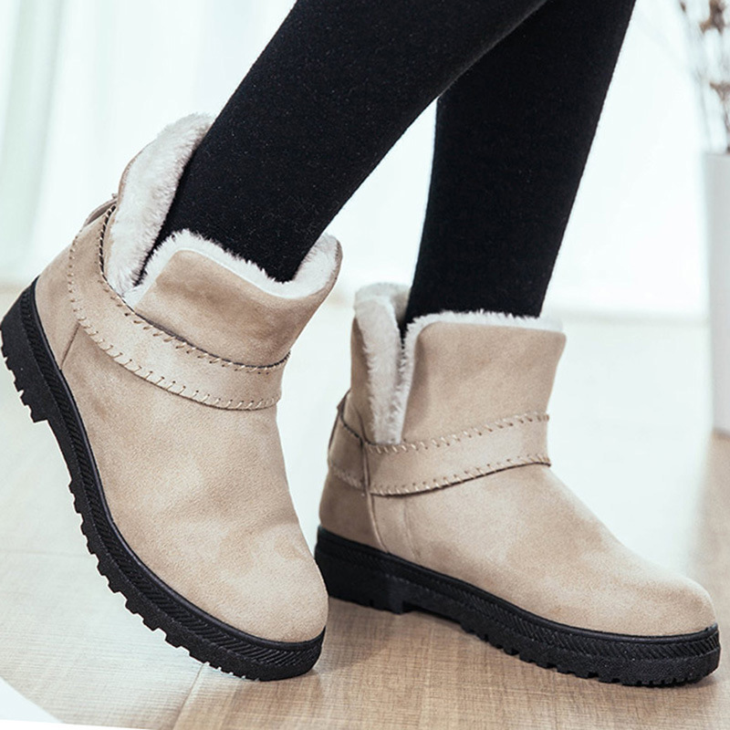 Fashion ankle boots for women slip on cow suede waterproof ...