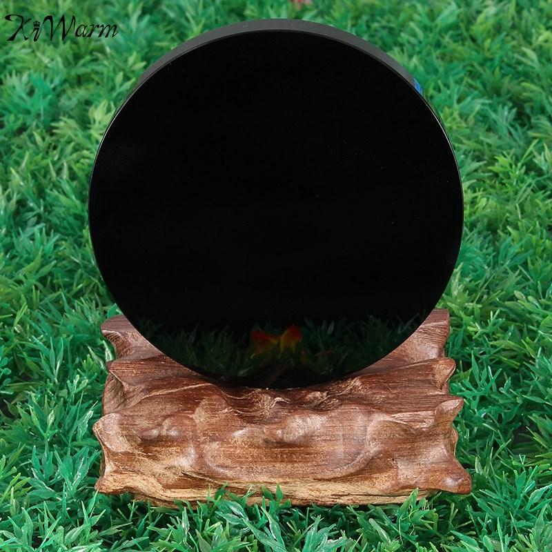 Kiwarm جديد وصول 100 ملليمتر الأسود سبج صراخ مرآة الكريستال gemstone شفاء ستون فنغ شوي هدية متجر المنزل الديكور الحرف