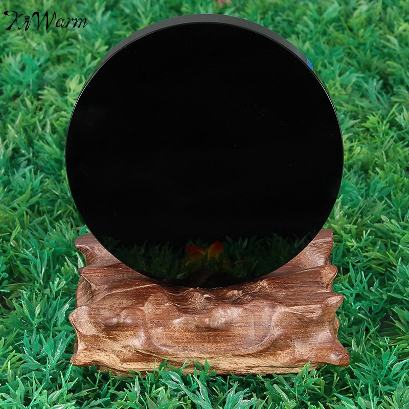 KiWarm New Arrival 100mm Black Obsidian Scrying Mirror Crystal Gemstone Healing Stone Feng Shui Gift Home Shop Decoration Crafts