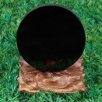 KiWarm New Arrival 100mm Black Obsidian Scrying Mirror Crystal Gemstone Healing Stone Feng Shui Gift Home