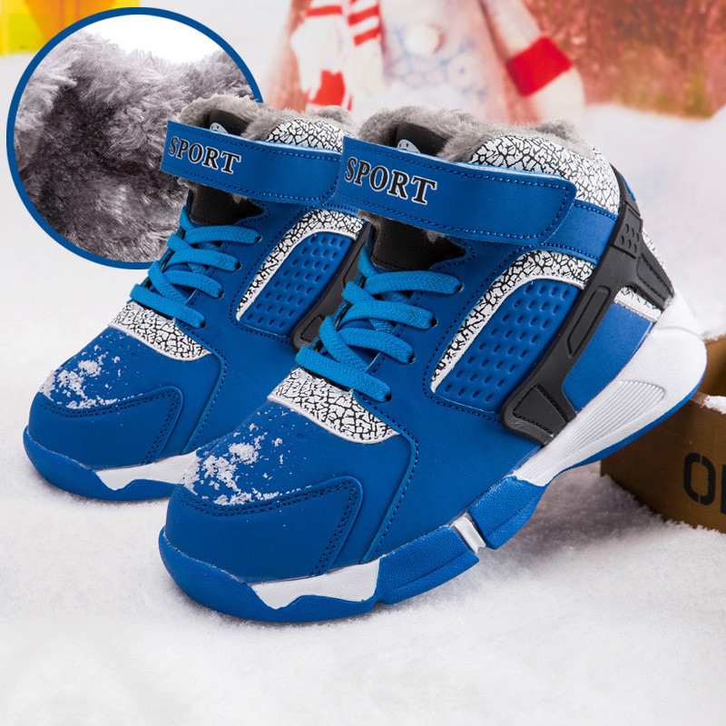 2018Winter new childrens shoes casual boys cotton shoes sports childrens snow boots plus velvet s