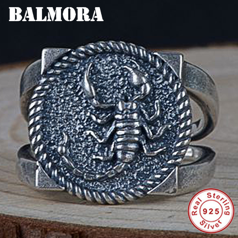BALMORA 925 Sterling Silver Scorpion Animal Open Rings for Men Thai Silver Ring Square Retro Fashion Jewelry Anillos SY22376 цены онлайн