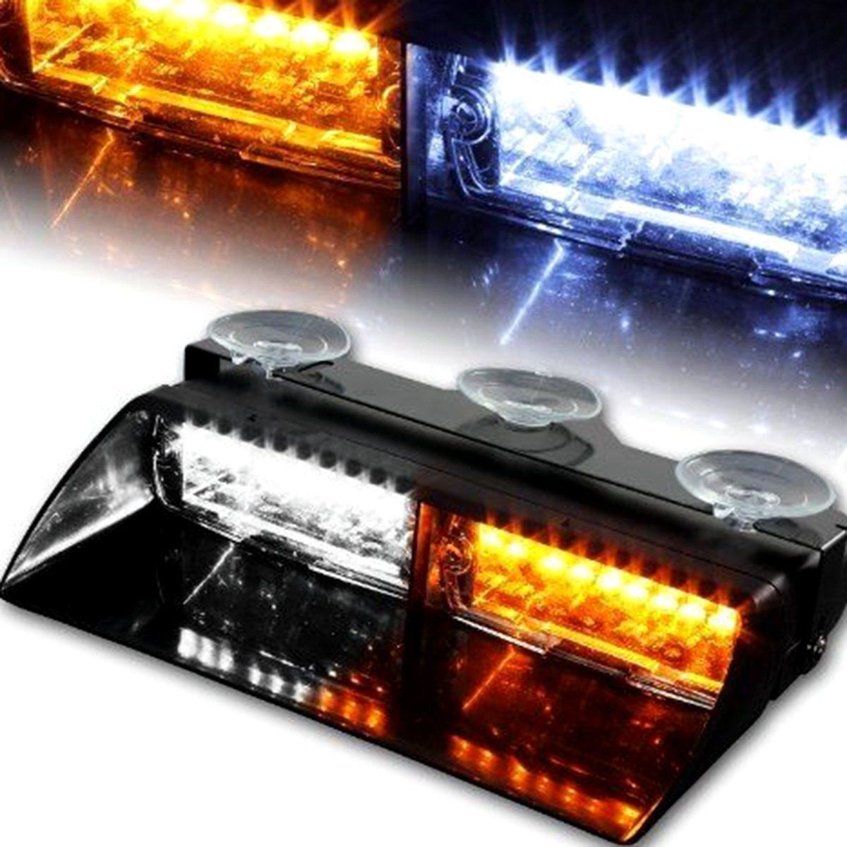 Car 16 LED Amber White Strobe Flash Light Dash Emergency Flashing Lamp new Fog led Emergency lights