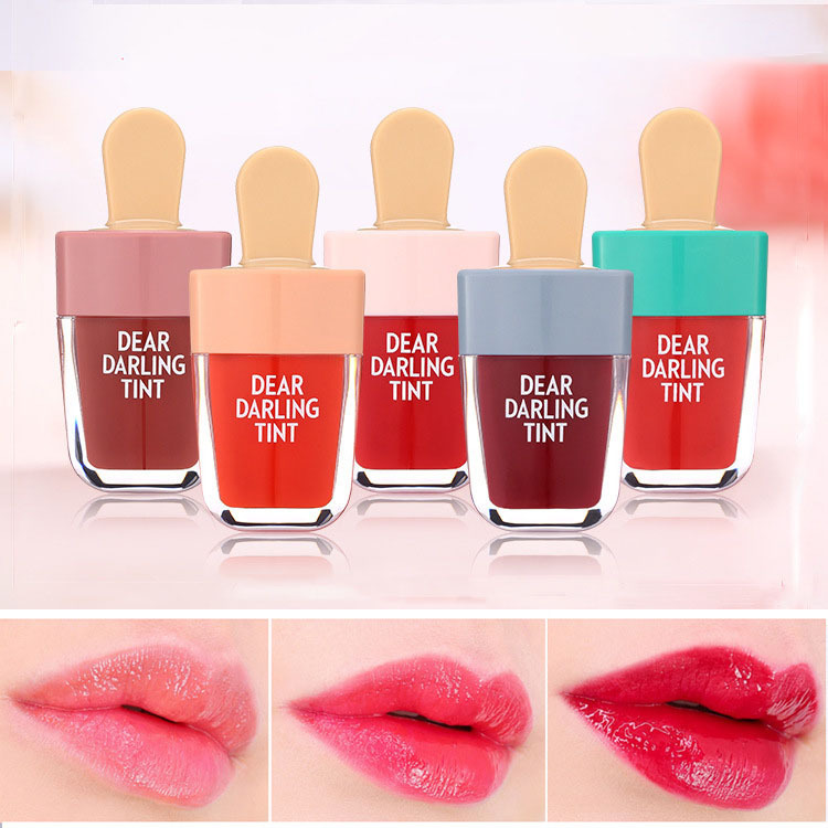 Brand 5 Colors batom Super Ice Cream Lip Gloss Waterproof Long Lasting Makeup Liquid Lipstick Sweet Red Lip Tint(China)