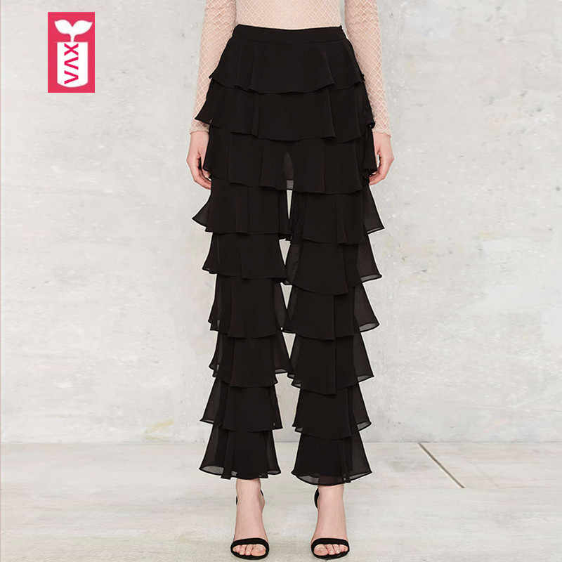 Creative Brand Fashion Dance Pants Ladys Multilayer Ruffles  Formal OL Womens Black Sweatpants Trousers Autumn 2018