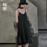Outline 2019 Original Design Summer Black Trend Perspective Long Fashion Ruffles Slip Dress Women Sexy Dresses L191Y025