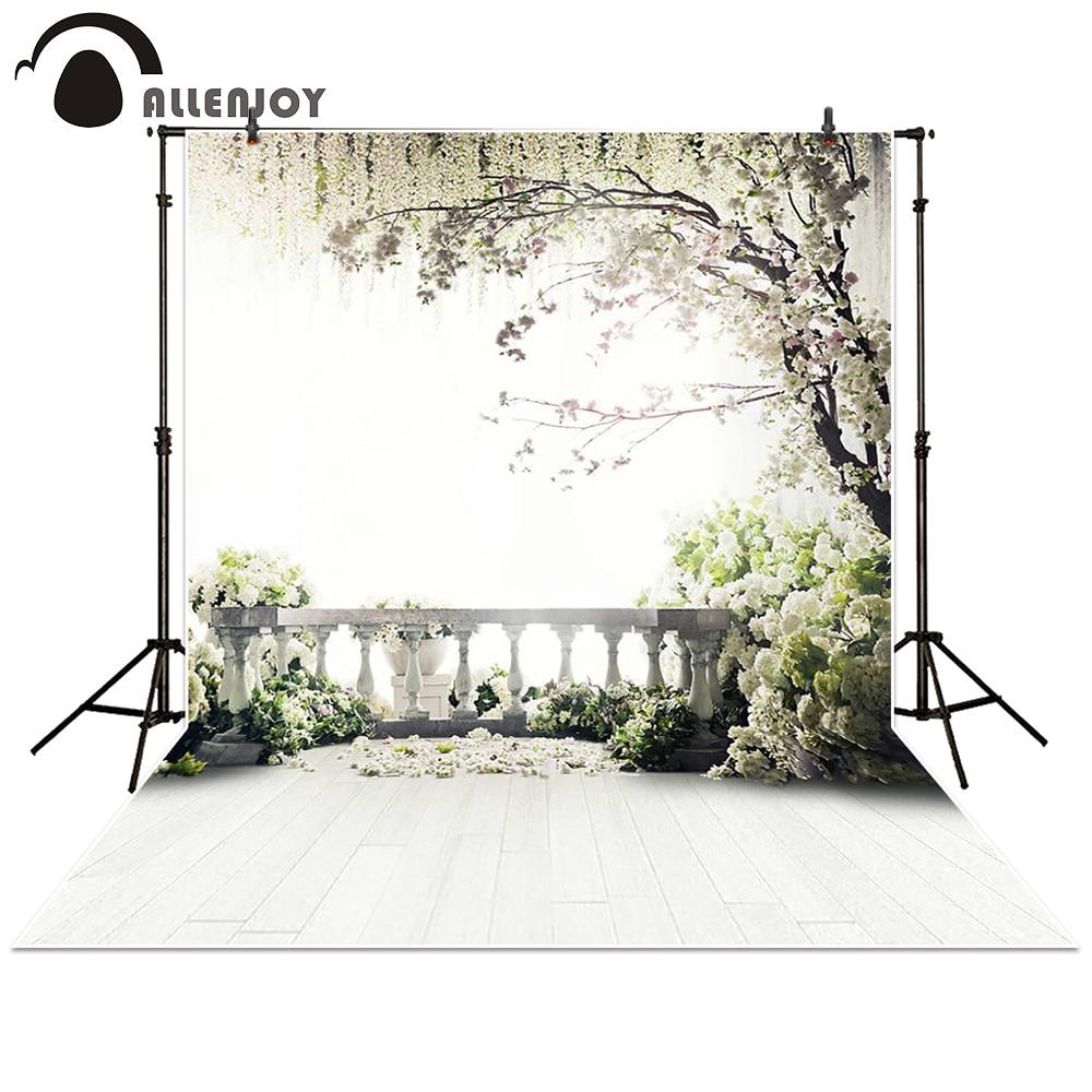 Allenjoy Fotogrāfijas fona kāzu balkona dārza bēniņi koki balti ziedi fona aksesuāri fotoelements Foto studija