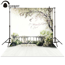 Allenjoy fotoğraf Backdrop düğün balkon bahçe çatı ağaçları beyaz çiçekler arka plan sahne photocall Photo booth fotoğraf stüdyosu