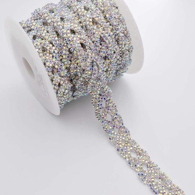 DIY 5yards Crystal AB color Glass Rhinestone Chain Wedding Dress Trimming  Sew on Rhinestones Belt Decoration Clothing Appliques a38f070c7859