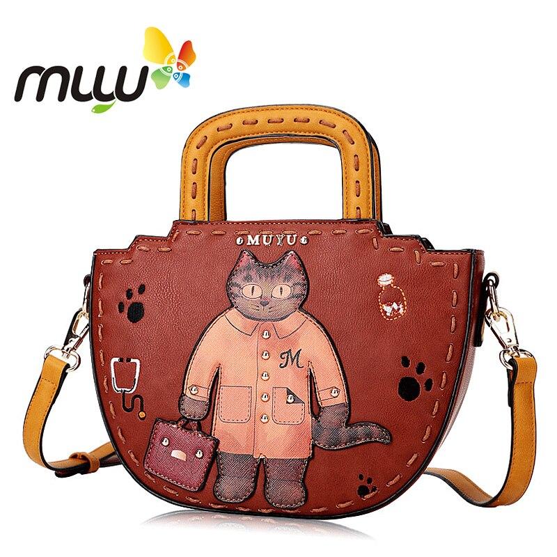 Muyu 2018 Cartoon Print Vintage Crossbody Bags for Women Zipper Closure Half Moon Soft PU Shoulder Bags Casual Lades Handbag stylish scoop neck half sleeve argyle print women s romper