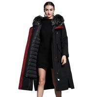 Real Fur Coat Raccoon Fur Collar Hooded Jackets Women Clothes Down Jacket Rex Rabbit Fur Liner Coats Parka Abrigo Mujer ZL719