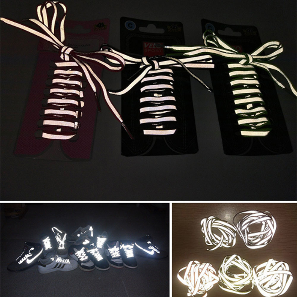 1 Pair 100cm Flat Reflective Runner Shoe Laces Safety Luminous Glowing Shoelaces Unisex For Sport Basketball Canvas Shoes