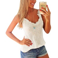 Ladie Lace Tank Top Women Summer Sexy Vest Casual Strap T shirt White Black