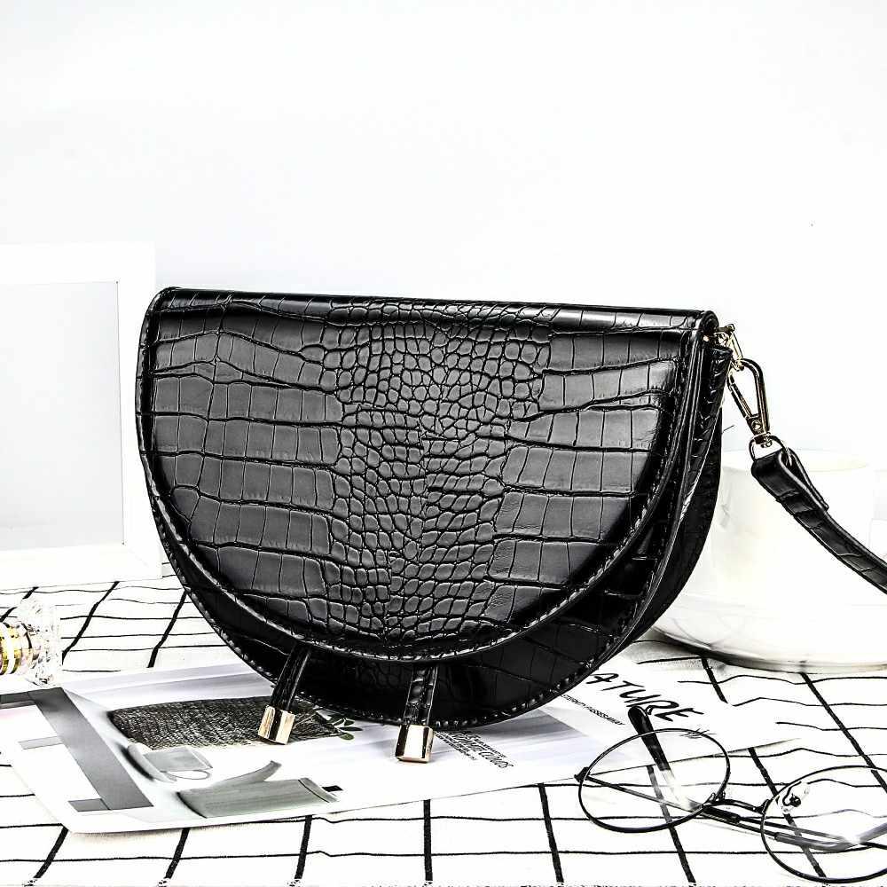 Buaya Pola Tas Selempang untuk Wanita Setengah Messenger Tas Pu Kulit Mewah Handbags Tas Wanita Desainer Tas Bahu