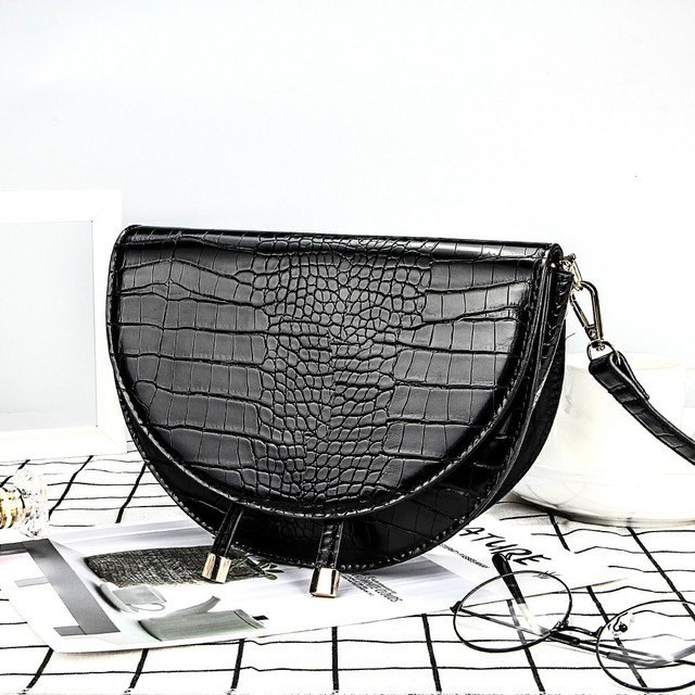 Crocodile Pattern Crossbody Bags for Women Half Round Messenger Bag Pu Leather Luxury Handbags Women Bags Designer Shoulder Bag 2