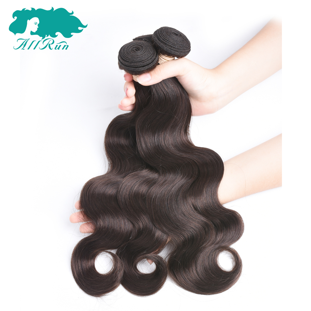 Allrun Pre-Colored Peruvian Body Wave 2# Dark Brown Non Remy Human Hair Bundles 8-26Free Shipping