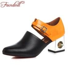 FACNDINLL new fashion high heels women pumps summer autumn women shoes thick heel comfortable dress shoes woman leather pumps