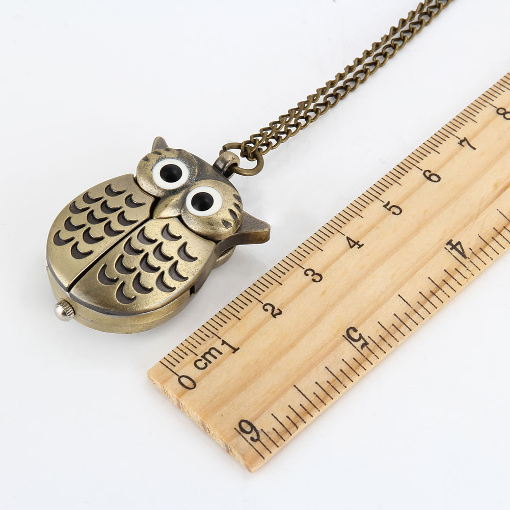 Fashion Vintage Men Women Pocket Watch Alloy Retro Owl Shape Clock Pendant Long Necklace Chain Watches Birthday Gifts LL