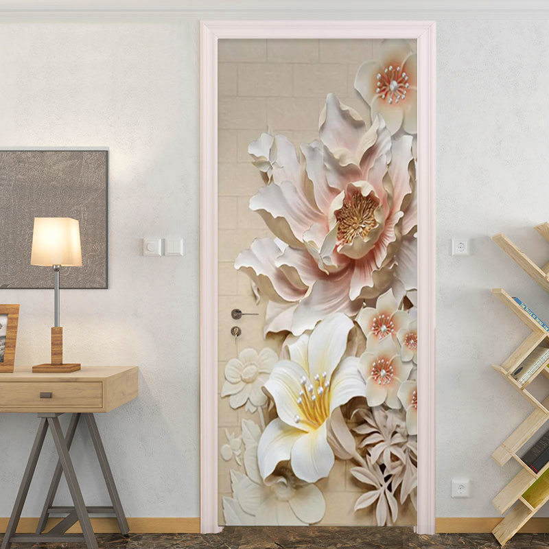 Door Sticker 3D Embossed Flowers Wallpaper PVC Self-Adhesive Living Room Hotel Door Decals Home Decor Vinyl Mural Wall Stickers