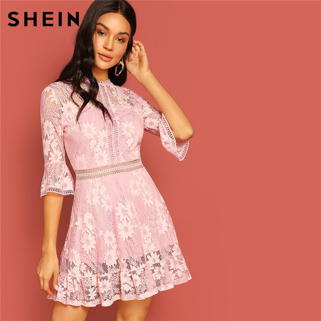 5969b3d67c SHEIN Pink Flare Sleeve Lace Sheer Zipper Slim Bodycon Dress Women Round  Neck Elegant Dress 2019 Autumn New Dress