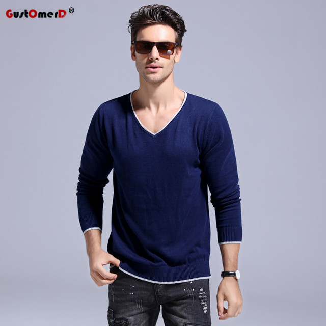 718a0d771f18 GustOmerD 2017 Autumn 100% Cotton V-neck Sweater Men Brand Clothing Slim  Fit Pullover