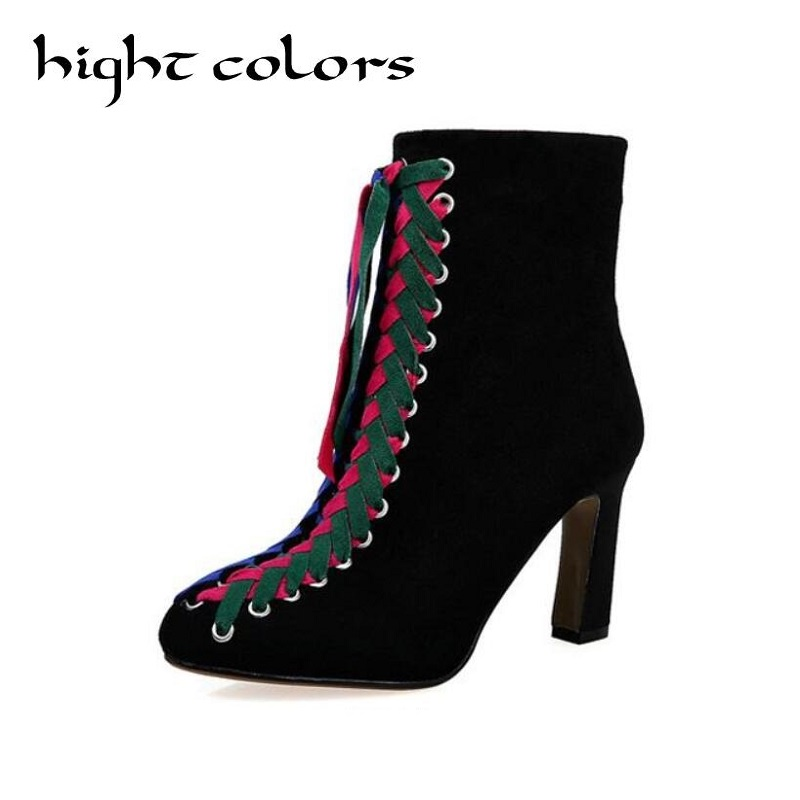 2018 New Street Fashion Women Boots High Quality Solid Lace-up European Ladies Shoes Scrub Leather Ankle Boots High Heels