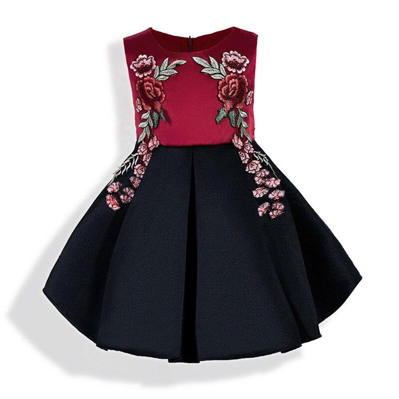 Cute Kids Elegant Sleeveless Girl Rose Dress O-Neck Flower Princess - Children's Clothing