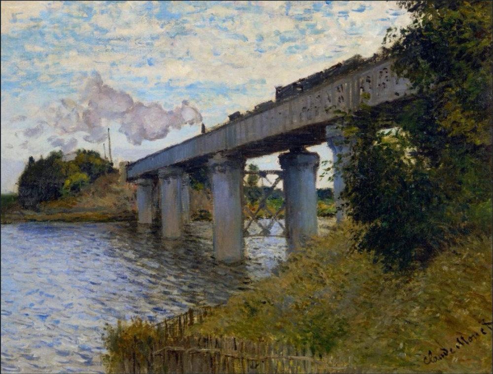 High quality Oil painting Canvas Reproductions The Railway Bridge at Argenteuil (1873) By Claude Monet hand painted