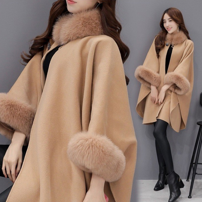 2019 New Fashion Women Winter Woolen Overcoat Fur Collar Sleeves Cloak Loose Irregular Hem Coat WML99