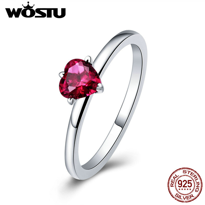 WOSTU Authentic 925 Sterling Silver Red Heart CZ Stone Ring For Women Lover Luxury Brand Wedding Engagement Jewelry Gift CQR389