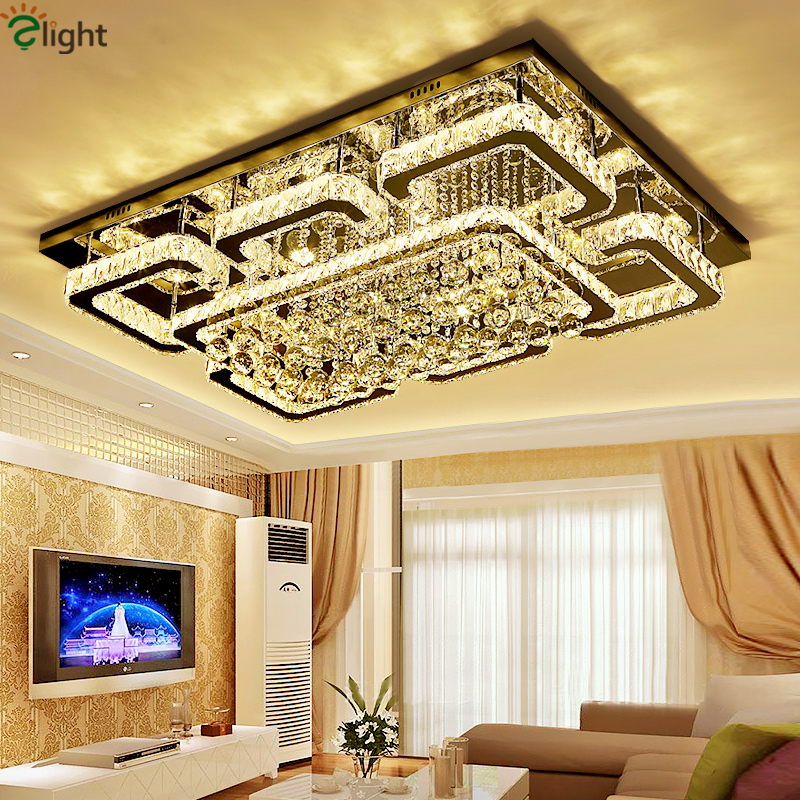 Modern Dimmable Lustre Chandelier Rectangle Luminaria Led Chandelier K9 Crystal Ceiling Chandelier Lighting Lamparas Fixtures zx modern k9 crystal chandelier arched rectangle ceiling lamp led fixture lighting bar light crystal restaurant curtain lights
