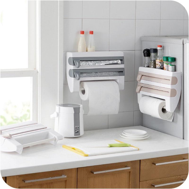 2018 Kitchen Towel Paper Holder Aluminum Film Cutter Wraptastic Dispenser Cutting Foil Cling Wrap Kitchen Shelf Wall Hang Rack