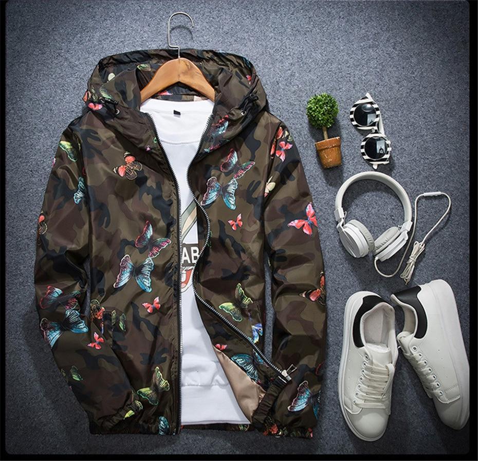 HTB1cCUuwIj B1NjSZFHq6yDWpXal Mens Casual Camouflage Hoodie Jacket 2018 New Autumn Butterfly Print Clothes Men's Hooded Windbreaker Coat Male Outwear WS505