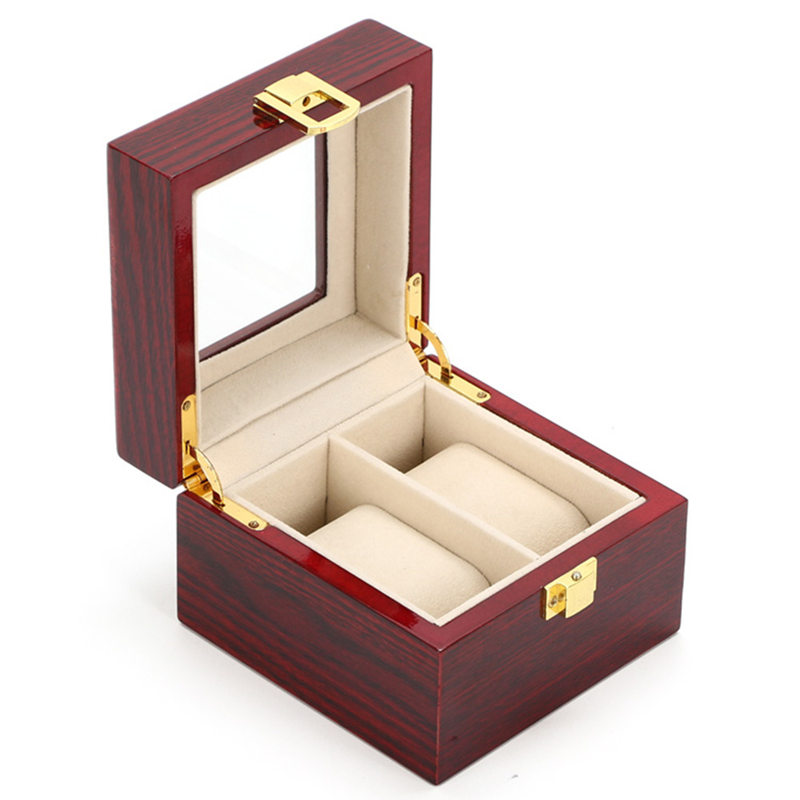 3 Slots Watch Boxes Display Box Case Red Red Wood Watch Organizer - Aksesorë për orë - Foto 5