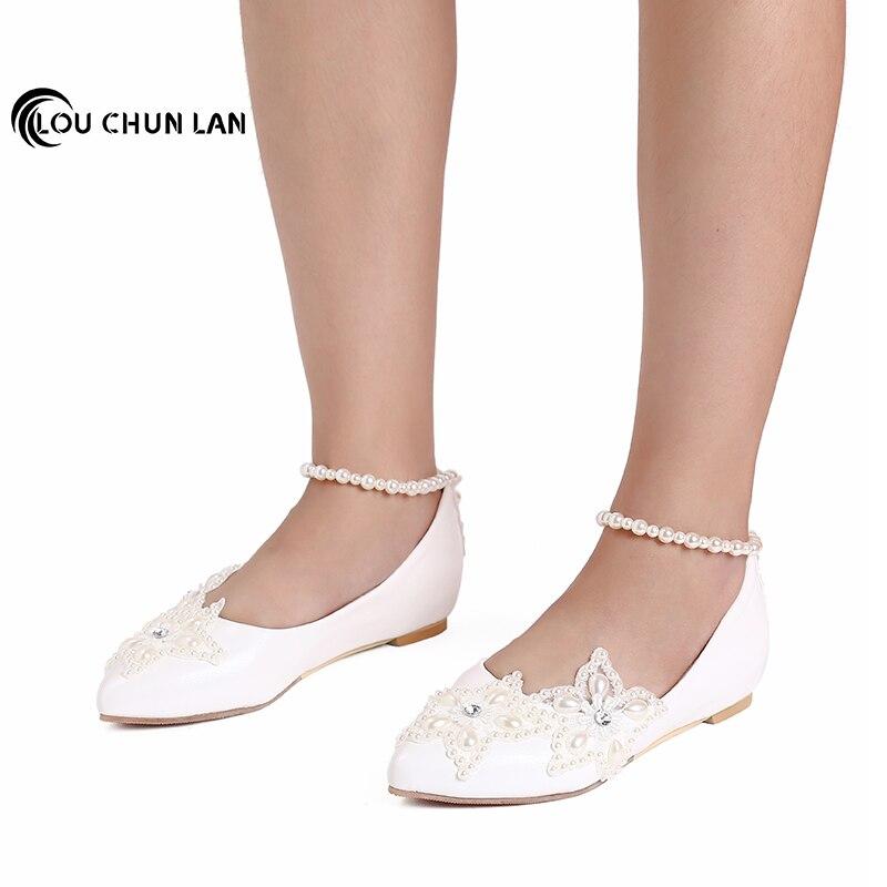 2019 blanc cinq branches étoile perle strass perlé cheville chaussures de mariage chaussures de demoiselle d'honneur chaussures à la main femme appartements taille 41-47