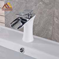 Chrome and White Color Deck Mounted Bathroom Sink Faucet Waterfall Spout Single Handle One Hole Faucet Free Shipping