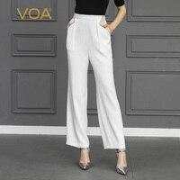 VOA белые шелковые широкие штаны Для женщин длинные брюки Повседневное осень Офис Большой Размеры одноцветное K751