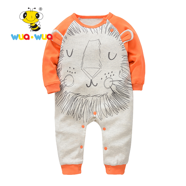 Baby clothes newborn Romper  baby costum  Cotton infants Cloth jumpsuit o-neck full Sleeve lion print Orange Wua wua AT17102