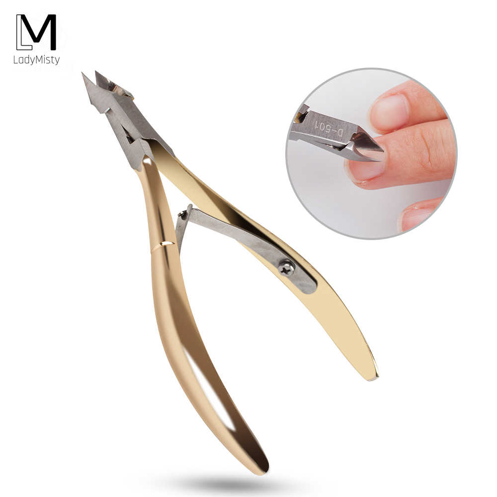 LadyMisty Rvs Nail Cuticle Schaar Vingernagel Teennagel Cuticle Nipper Trimmen Gouden Handvat Dode Huid Schaar D-501