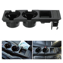 Car Front Center Console Drink Cup Holder + Coin Holder Tray for BMW 3Series E46 1998-2004 Black