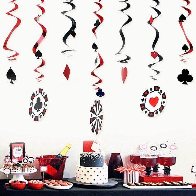 9 cái/bộ Poker Logo Lá Casino Swirl Trang Trí Chơi Thẻ Swirls Poker Thẻ Trang Trí Nội Thất Hangling Chic Trang Trí