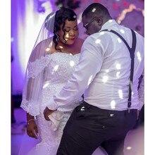 DLOVE BRIDAL Luxury Pearl Beaded Mermaid Wedding Dress