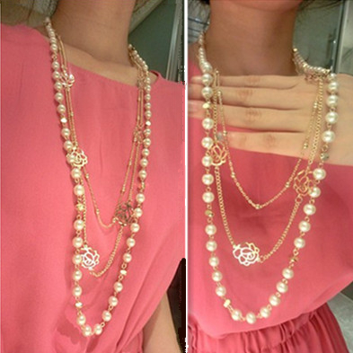 Rose Flower Pearls Multi-layer Long Necklaces