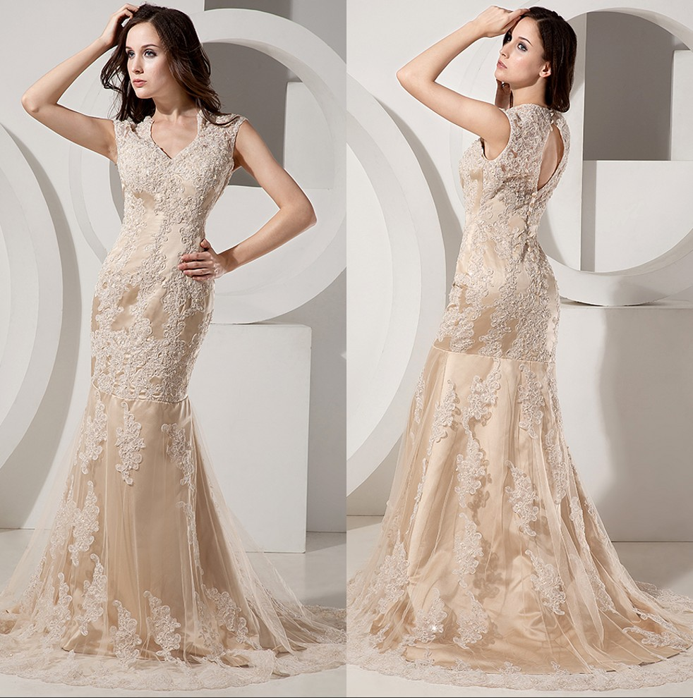 Aliexpress.com : Buy Champagne Lace Mermaid Modest Wedding Dresses ...