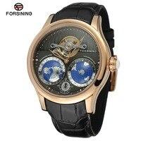 Forsining automatico di alta qualità orologi movimento giapponese di marca di lusso genuino maschile cinghia di cuoio degli uomini business casual orologi