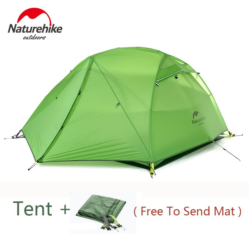 Naturehike Camping Tent Ultralight Outdoor Hiking 2 Person Tents 20D Silicone Double Layer Waterproof Tent Winter With Free Mat