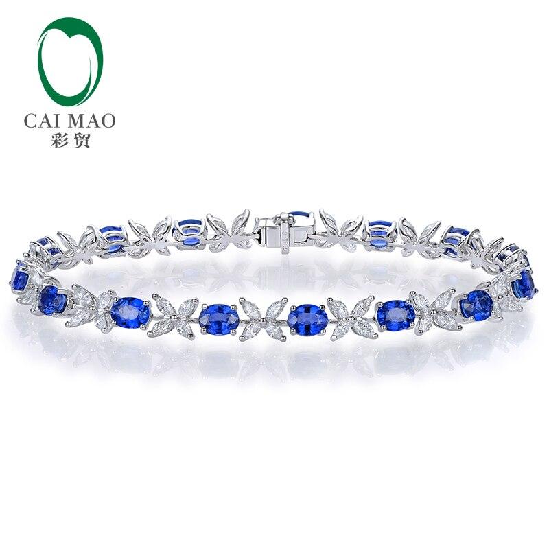 CAIMAO 6.97ctw saphir bleu naturel et diamant Marquise 18kt AU750 Bracelet en or blanc bijoux fins